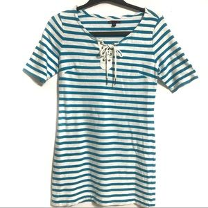 GAP Women's Blue & White Striped Short Dress Small